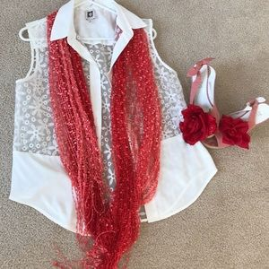 Extra long scarf red with white & silver details